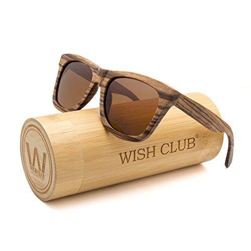 9520e5747f9 WISH CLUB Wayfarer Polarized Lenses Wood Frame Sunglasses for Women and Men  Rimmed Mirrored Wooden Bamboo Eyewear for Unisex Mens Light Round Glasses  with ...