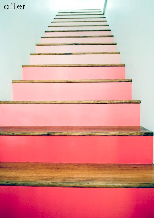 Love the gradient pink risers on this staircase from http://www.designsponge.com/2012/06/before-after-painted-stairs-card-catalog-transformation.html