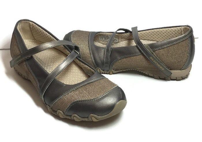 Skechers Mary Janes Shoes US 7.5 Bikers Step Up Sneaker Pewter Metallic Leather #SKECHERS #MaryJanes