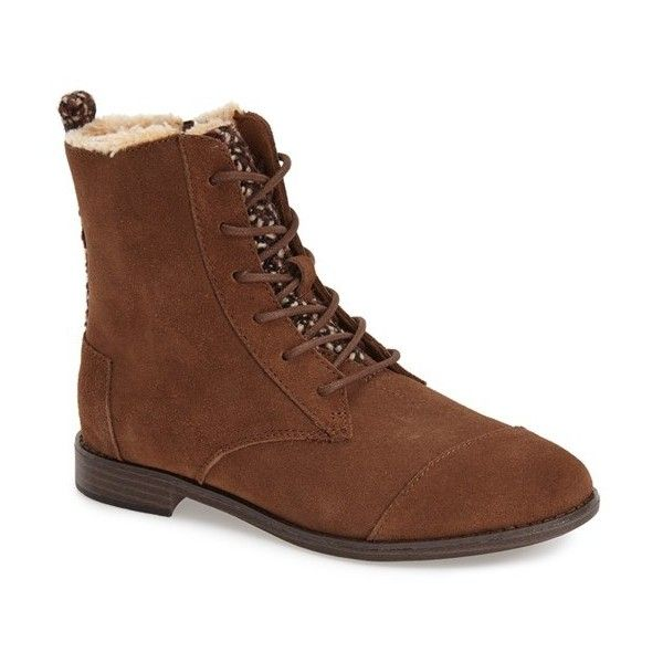 """TOMS 'Alpa'Water Resistant Suede Boot, 1"""" heel ($119) ❤ liked on Polyvore featuring shoes, boots, ankle booties, ankle boots, dark brown, short heel boots, toms boots, dark brown boots and lace up boots"""