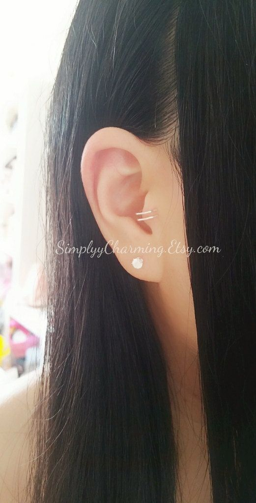 Small Double Tragus Hoop Ear Cuff Clip On by SimplyyCharming