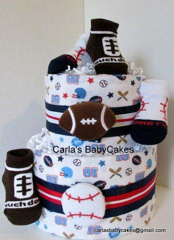 Boy Diaper Cake  Sports Diaper Cake  Baby by MsCarlasBabyCakes, $42.00