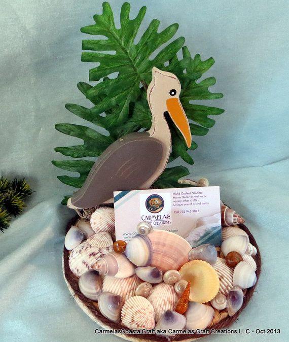 Beach Office Decor  Wood Pelican Business Card holder by CarmelasCoastalCraft, $30.00  #executive gift #Beach office decor
