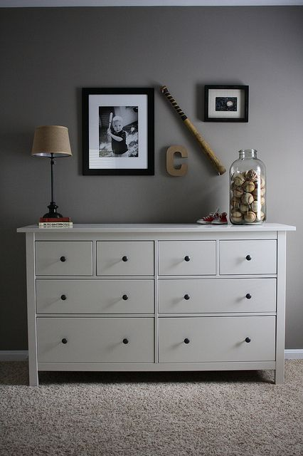 Completed Vintage Sports Room: Dresser Area