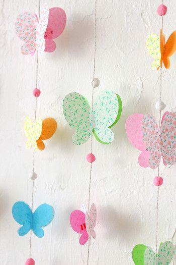 Slinger vlinder knutselen. Diy paper butterflies.