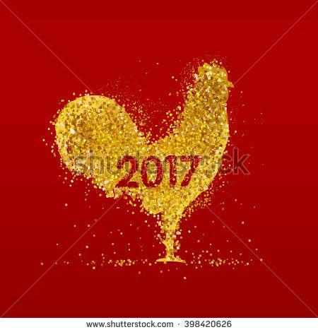 Golden rooster on red background. Chinese calendar for the year of rooster 2017. - stock vector #rooster #2017