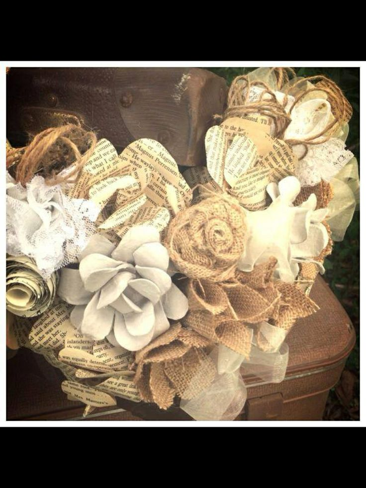 Paper flowers with hessian flowers