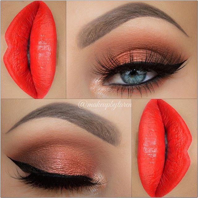 Gorgeous Warm, Bright Look With Morphe Brushes Eye Shadows and Gerard Cosmetics 'Mercury Rising' Liquid Lipstick!