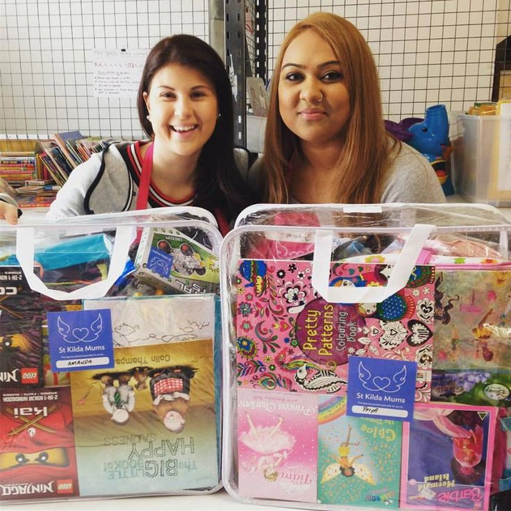 Amanda & Priya from NAB with their very lovingly & thoughtfully packed toy bags #weloveourvolunteers #workplacevolunteering