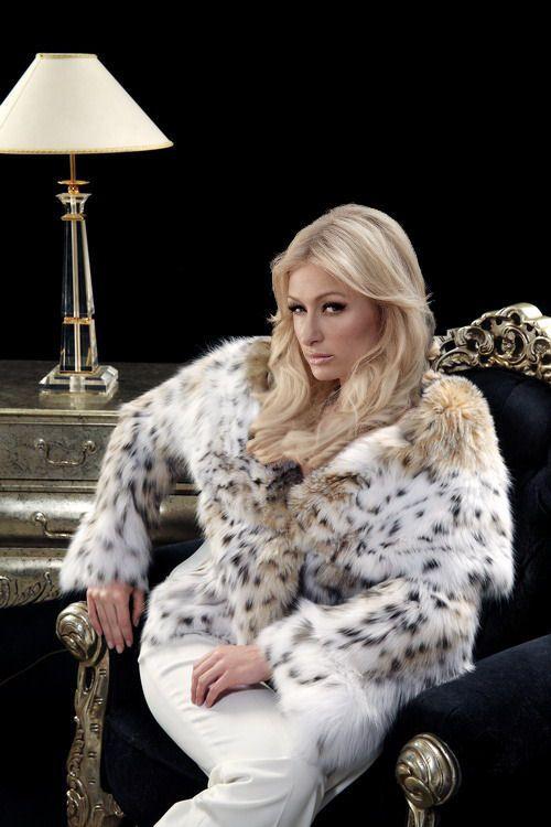 Paris Hilton Fake Fur Fur Fur Coat Fashion Fur Jacket