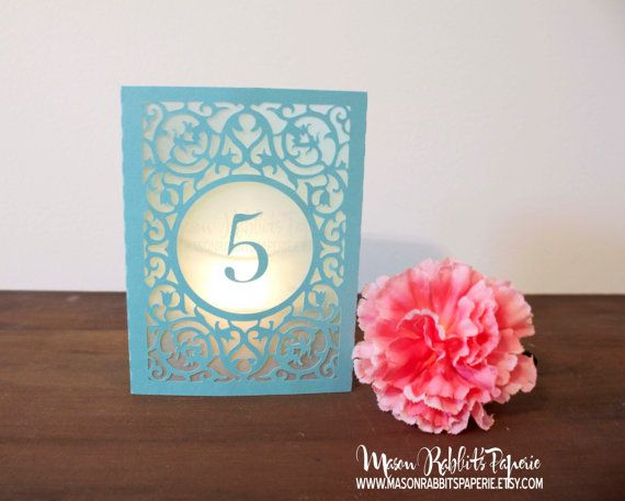 New Merci Box Luminary Wedding Table Numbers. Wedding Table Markers, Luminaries, Wedding Decor on Etsy, $3.50