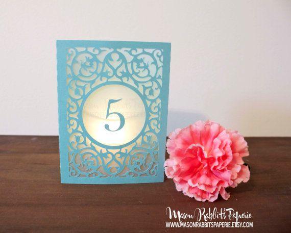 New Merci Box Luminary Wedding Table Numbers. Wedding Table Markers, Luminaries, Wedding Decor on Etsy, $3.50
