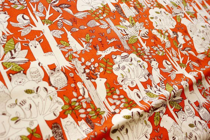 Woodland Fabric, Fox, Bear, Owl, Deer, Cotton Canvas, in Orange, http://etsy.me/2orCIFA #supplies #orange #canvas #cotton #yes #cottonduck #cottonfabric #sewing #patch #etsyshop