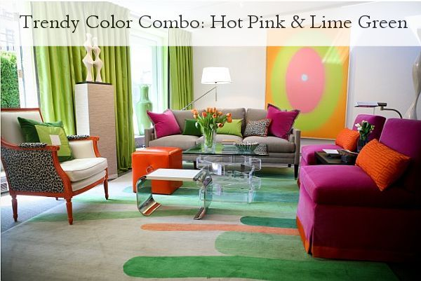 Trendy Color Combo: Hot Pink   and green. I like it.