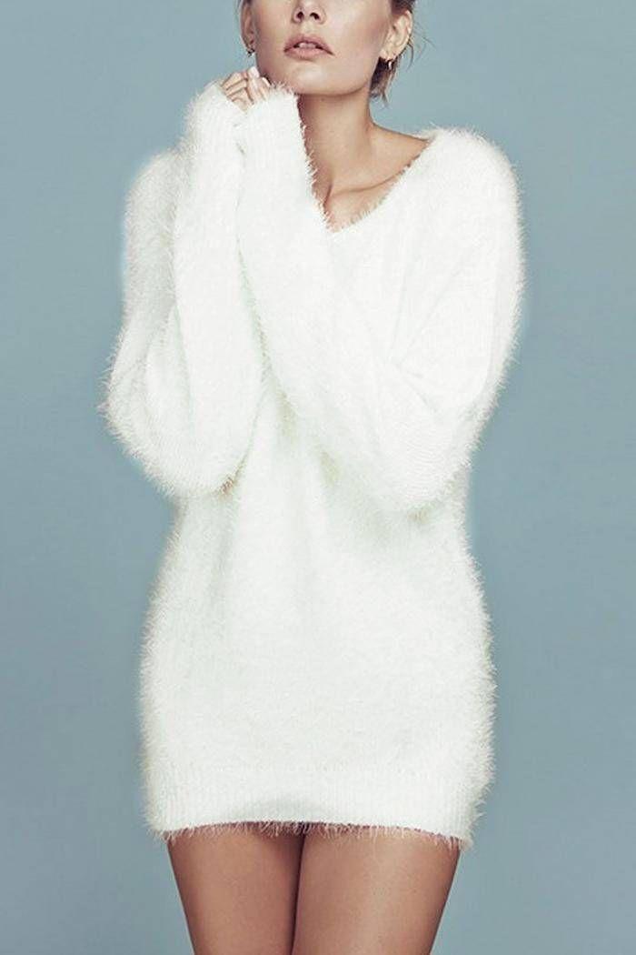 White Mohair V Neck Long Sleeve Jumper