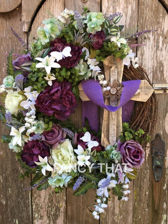 Religious Easter Cross Wreath,cross Wreath,religious grapevine wreath,easter grapevine wreath,purple cross Wreath,He is risen wreath,easter