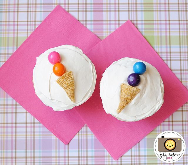 Cupcake Idea: All you need to do is place one bugle and a couple colored gum balls on a prepared and frosted cupcake.Cupcakes Decor, Ice Cream Cupcakes, Ice Cream Theme, Cute Ideas, Cupcake Decorations, Kids Cupcakes, Icecream Cones Cupcakes, Birthday Ideas, Ice Cream Cones
