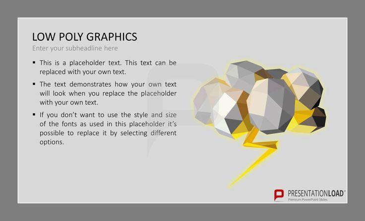 Low Poly Graphics sind Computer-Grafiken, die mithilfe von polygonalen Modellen erstellt werden. Bei der Verwendung dieser Technik werden einzelne Punkte zu Dreiecken oder Vierecken (quads) miteinander verbunden. Diese dienten unsere neuen PowerPoint-Folien als Vorlage. @ http://www.presentationload.de/low-poly-grafiken.html