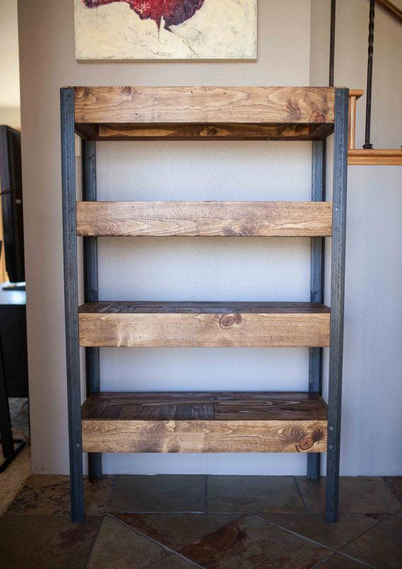 Pallet Wood and Metal Leg Bookshelf by woodandwiredesigns on Etsy                                                                                                                                                                                 Mais