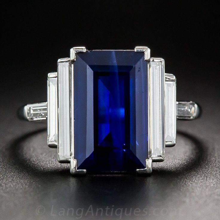 Natural 5.00 Carat Emerald-Cut Sapphire and Long Baguette Diamond Ring