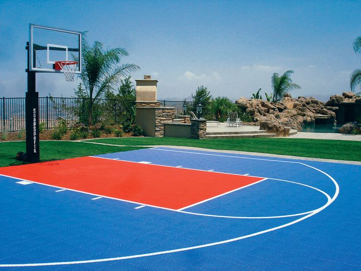Outdoor basketball court home backyard basketball for Basketball court at home