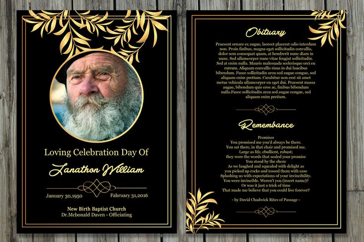 Funeral Program Template | 5x7 Funeral Card Template | Memorial Program | Photoshop and MS Word Template | Instant Download | Fp-205 http://etsy.me/2mL8hsZ #funeral #program #card #obituary