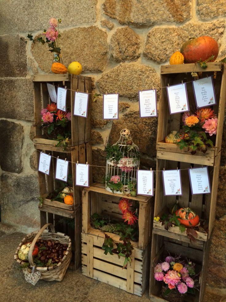 Seating plan otoño en la boda de Maru y David