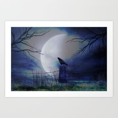 Whit this beautiful moon Art Print by Oscar Tello Muñoz - $19.00