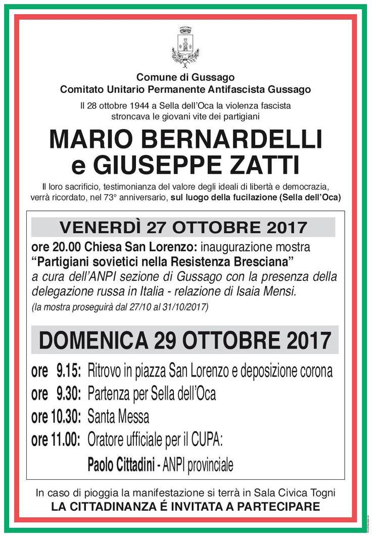 """Programma 2017 commemorazione 73° anniversario """"Sella dell'Oca"""" - http://www.gussagonews.it/programma-commemorazione-73-anniversario-sella-oca-ottobre-2017/"""