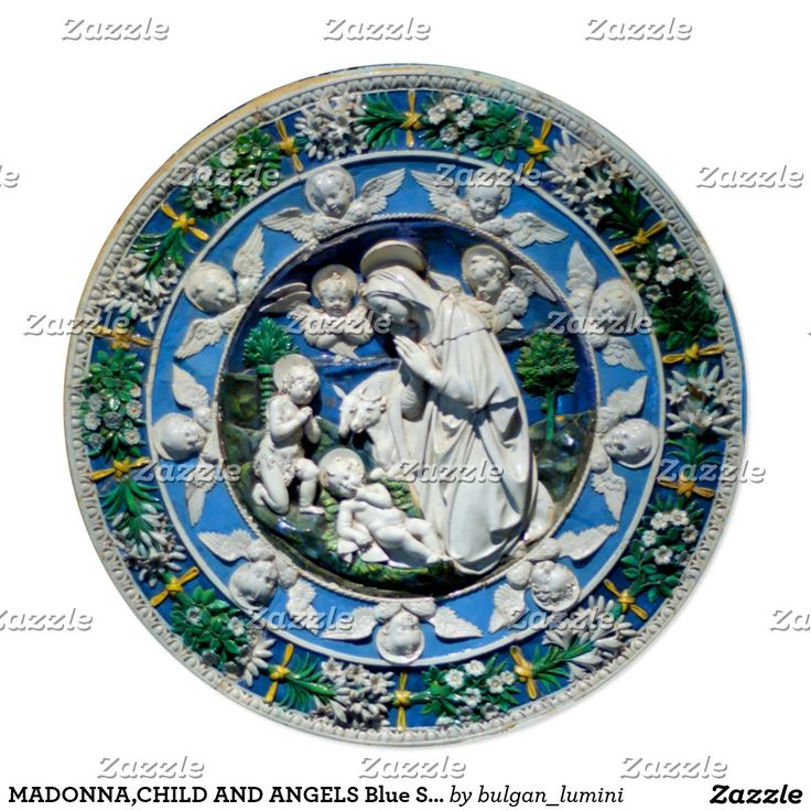 MADONNA,CHILD AND ANGELS Blue Sapphire Christmas Invitation Card  #xmas #angel #religious #fineart #christian #virgin