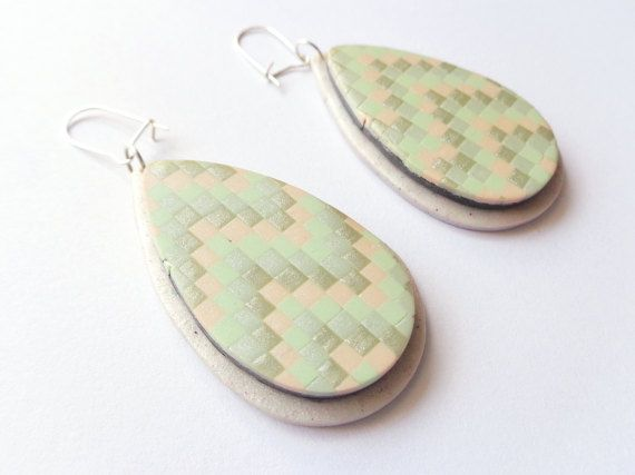 Geometric Pastel Tear Drop Earrings Statement by FairyDustHC