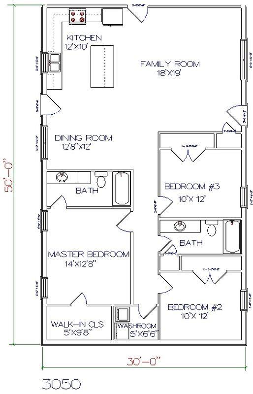 3 bed, 2 bath - 30' x 50' 1500 sq.ft.