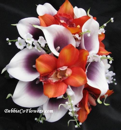 plum and orange wedding bouquets calla lilly | real touch bouquet purplewhite calla orange orchid lily valley