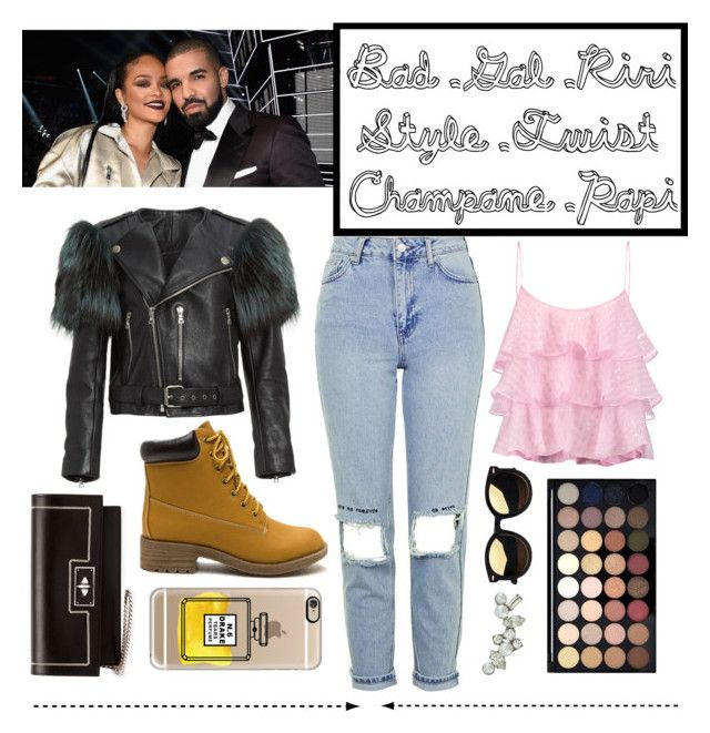 """""""Rihanna and Drake Style Twist"""" by madammalkin ❤ liked on Polyvore featuring Topshop, Marc Jacobs, Casetify, Pierre Balmain, Givenchy, DANNIJO, Work, DRAKE, Rihanna and 1800hotlinebling"""