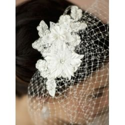 French Net Vintage Bridal Veil with Ivory Beaded and Floral Applique