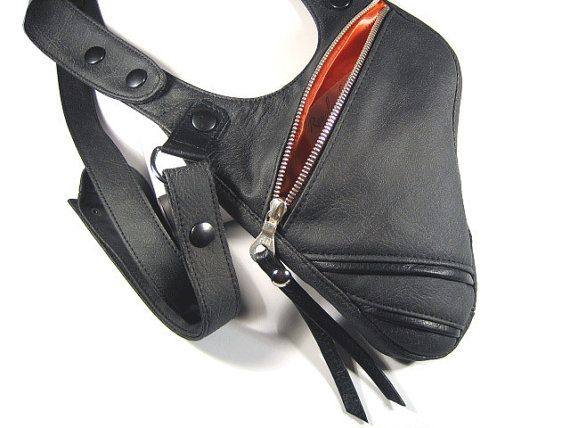 New collection  Holster from fine, soft leather imitation  Fig. anthracite  with adjustable Halter and shoulder straps. The bag is used with two black leather piping ... #holster