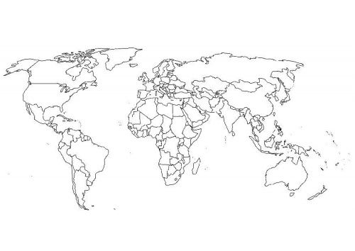Colored And Labeled Map of The World World Map Coloring Page