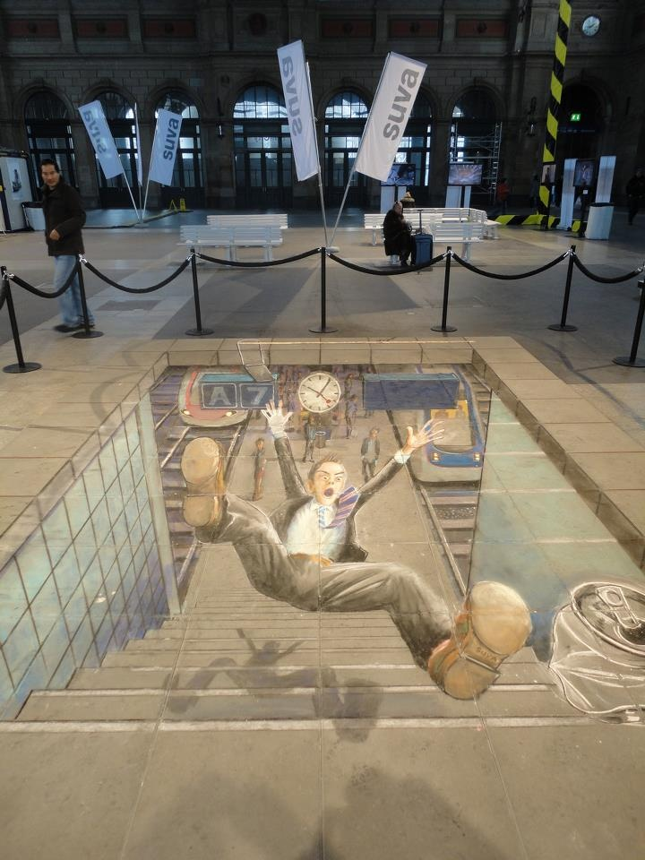 falling. 3D street chalk art