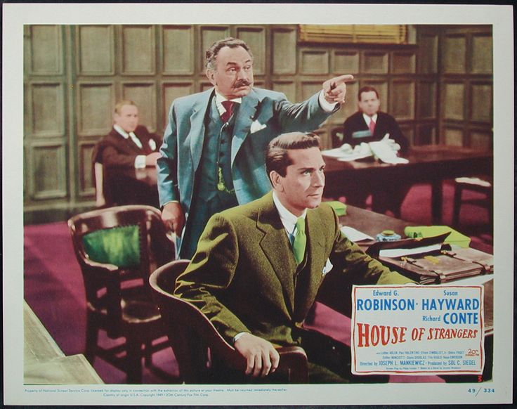 Lobby card 1949 Joseph Mankiewicz film noir House of Strangers with Edward G Robinson and Richard Conte