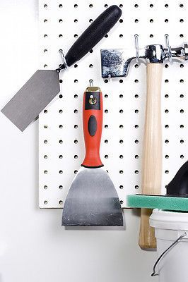 Add pegboard to any wall for instant storage. Works well inside a closet, in a workroom, laundry room, or mudroom. Paint it to match the wall if you wish.