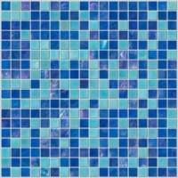 Blue glass tiles for backsplash above bathroom sink area