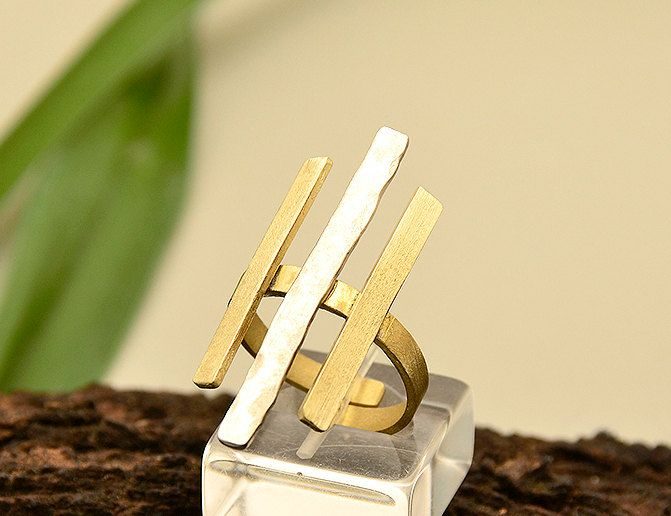 Geometric ring, bars ring, parallel lines ring, mixed metals ring,index finger ring,long brass ring,gold tone jewelry, gift for her under 25 by ColorLatinoJewelry on Etsy