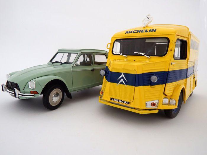 Solido - schaal 1/18/EG - Lot met 2 modellen: Citroën Type HY 'Michelin' 1969 van en Citroën Dyane 6 1967 - Jade groen  Grote schaalmodellen van een prachtige Citroën Type HY Michelin nut van van 1969 en Citroën Dyane 6 jade groen uit 1967. Het HY evenals Dyane 6 modellen zijn enkele van de meest herkenbare Franse pictogrammen en zeer populaire modellen onder verzamelaars.Veel bestaat uit:Solido - Citroën HY MICHELIN nut van 1969 - S1850002Solido - Citroën Dyane 6 jade groen 1967 - S1800302…
