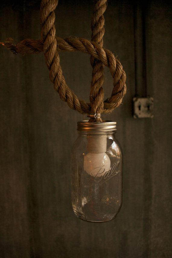 Mason Jar Lighting Hanging Lamp Shabby Chic Lighting by LukeLampCo