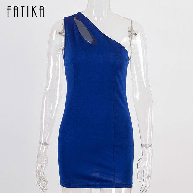 FATIKA New Women One Shoulder Night Club Hollow Out Sleeveless Sexy Dress Ladies Bodycon Mini Dresses