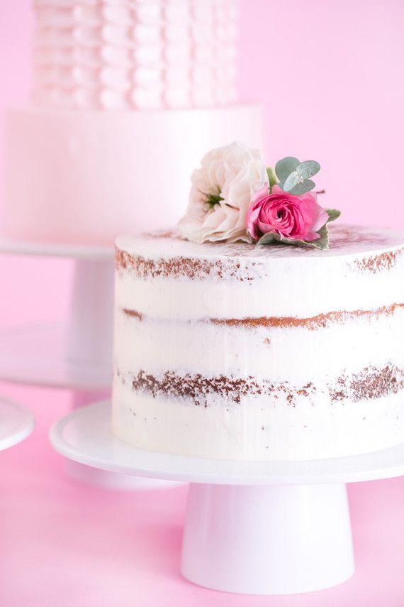 half naked cake + flower topper