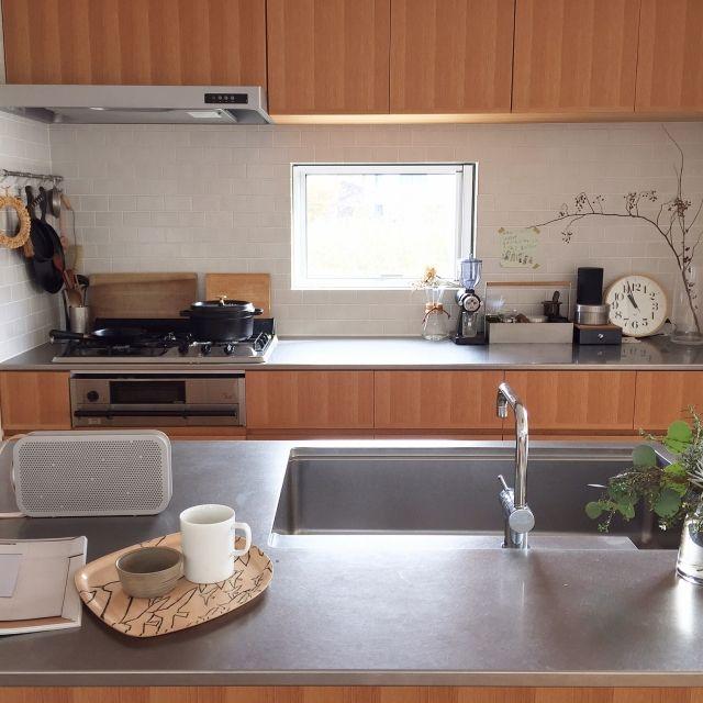 MICHIKOさんの、雑貨,カフェ風,花のある暮らし,塗り壁,タイル貼り,注文住宅,造作家具,ナチュラル,アイランドキッチン,ステンレスキッチン,キッチン,のお部屋写真