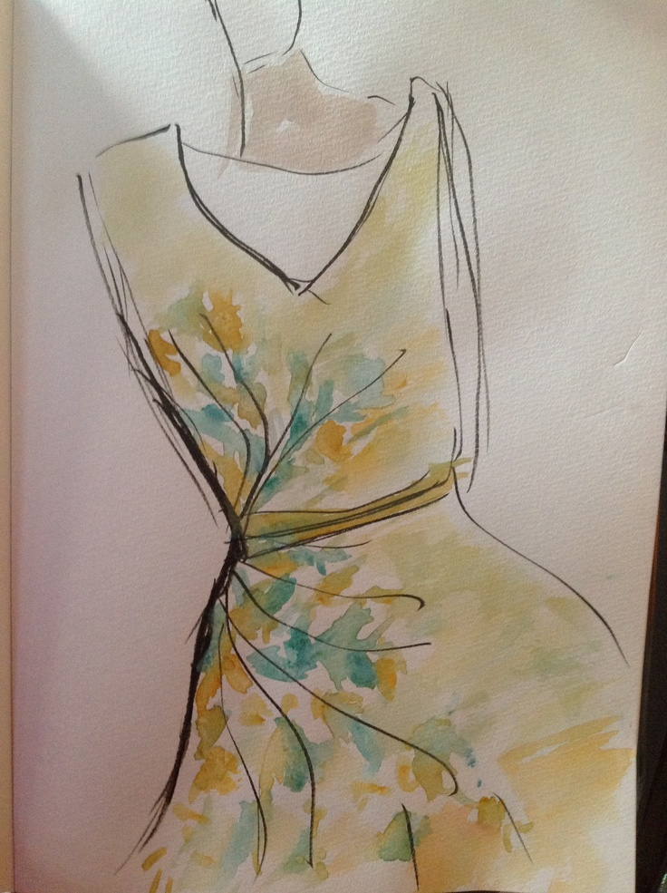 yellow dress water color ilustartion  by JY <3 _ <3 ...
