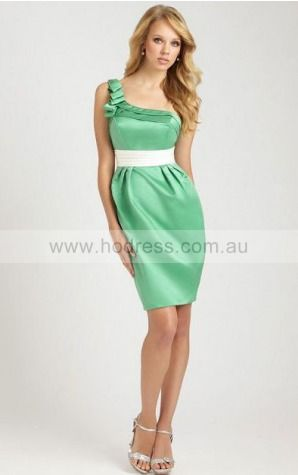 Satin One Shoulder Empire Sheath Knee-length Bridesmaid Dresses 0740336