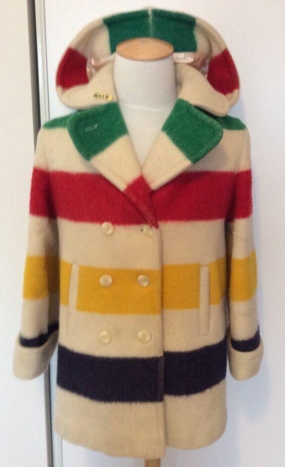 Vintage Hudson S Bay 3 5 Point Wool Striped Blanket Cape